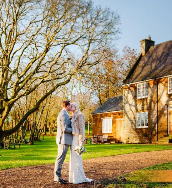 Natalie & Lee in the gardens at Crockwell Farm, wedding venues northampton.