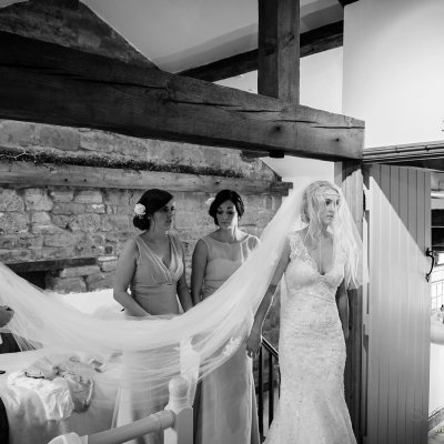 Sophie with her stunning veil and bridesmaids.