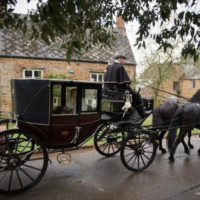 Horses take the bride to the church in Eydon, Northamptonshire.