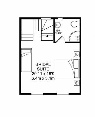 Dryden cottage upstairs, floorplan.