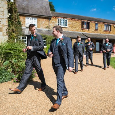 The groom and his best man head to the ceremony.
