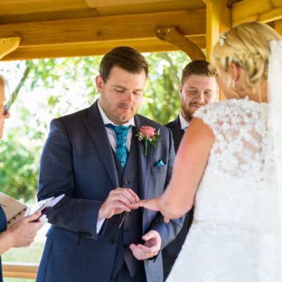 Ring exchange at a wedding at Crockwell Farm.