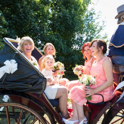 Bridesmaids, flower girls and parents make their way to Crockwell for the wedding.
