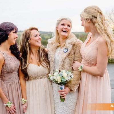 The bride with her bridesmaids.