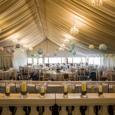The main marquee at Crockwell can seat up to 200 guests for wedding breakfast.