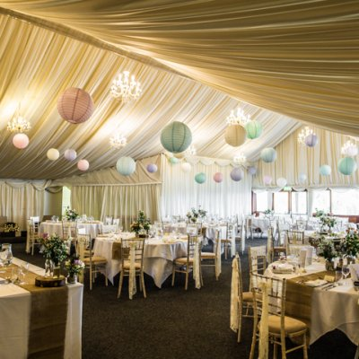 The main marquee set up ready for wedding breakfast.