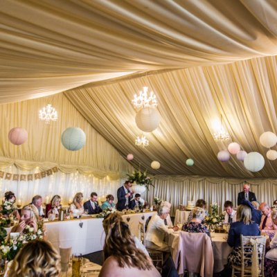The main marquee is where guests are seated for wedding breakfast.
