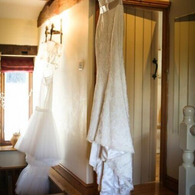 Natalie's dress hangs in Dryden cottage.