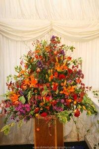 A spectacular autumnal flower arrangement.