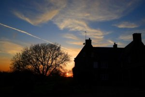 Sunset behind the house at Crockwell.