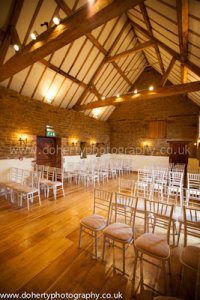 The ceremony barn licensed for wedding ceremonies at Crockwell Farm in Northamptonshire.