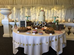Jess & Rikki's massive cake table!