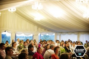 Guests listen intently to the speeches.