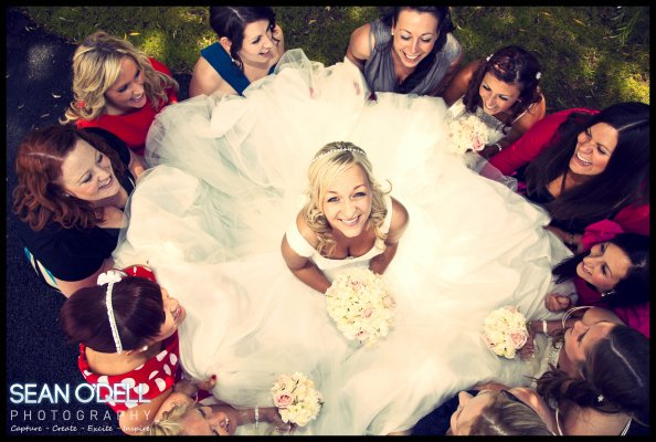A birds eye view of the bride and her hens.