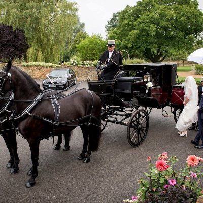 The bride leaves Crockwell wedding venue to be married.