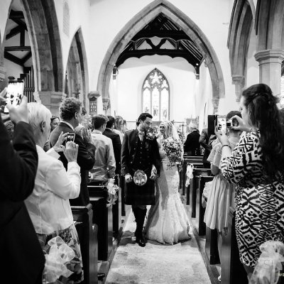 Sophie & Shaun tie the knot in Eydon church.