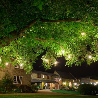 A beautifully lit venue from under the walnut tree.
