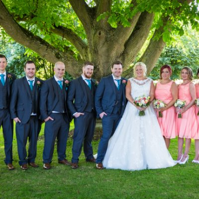 The wedding party under the stunning walnut tree in the gardens of Crockwell Farm.
