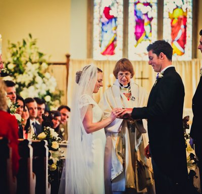 Exchange of rings at the altar.