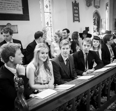 Guests seated in the church.