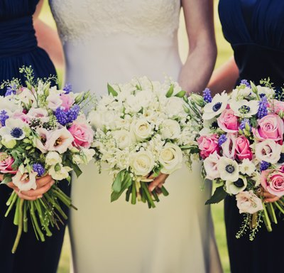 Bridal and bridesmaids boquets.