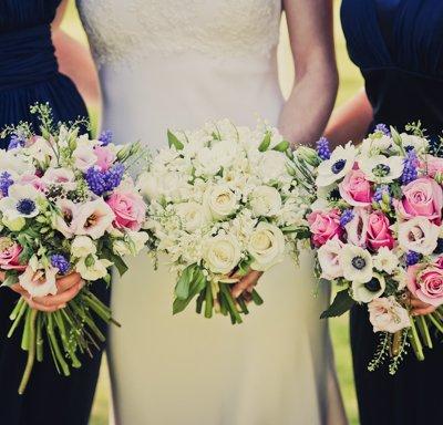 Bridal and bridesmaids boquets.
