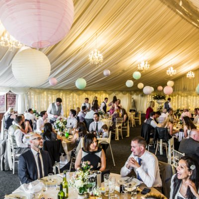 We can seat up to 200 guests in our permenant marquee for wedding breakfast.