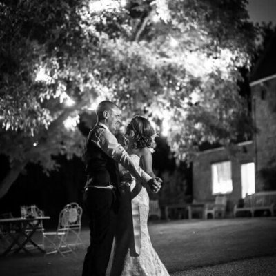 Natalie & Neil under the beautifully lit walnut tree.