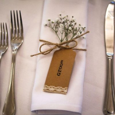 A place setting for the groom.