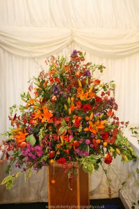 A spectacular autumnal flower arrangement.