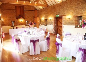 Smaller wedding, set up in the ceremony barn for an intimate wedding breakfast.