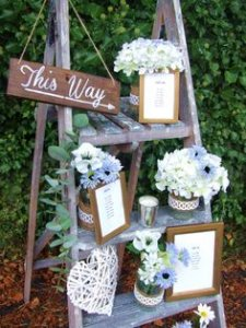 A rustic step ladder is an easy but affectivce piece to use for decoration on your wedding day.