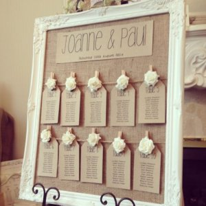 Rustic, vintage feel table plan.