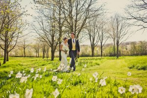 Amy & Joe strolling through the Daffodils.